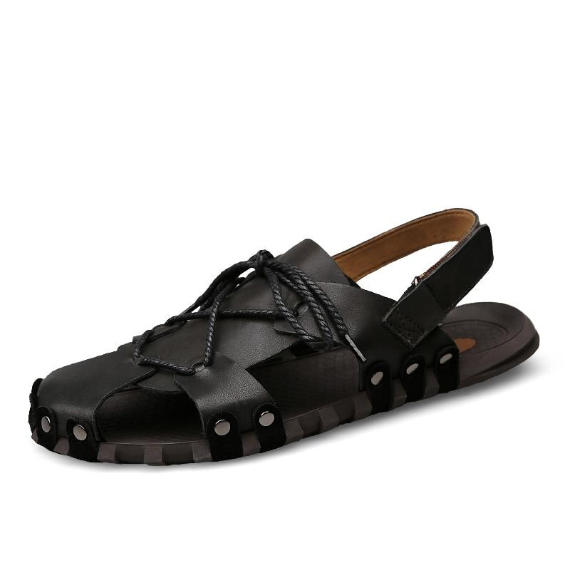 Fashion Man Sandals Casual Flat Heels genuine Leather breathable Beach sandals Male Retro Slipper Mens Roman Summer Shoes p3