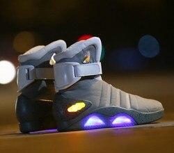 تأثيري أحذية العودة إلى المستقبل Led أحذية خفيفة الهواء ماج نمط الملكية الولايات المتحدة الأمريكية موضة أحذية عالية USB تهمة