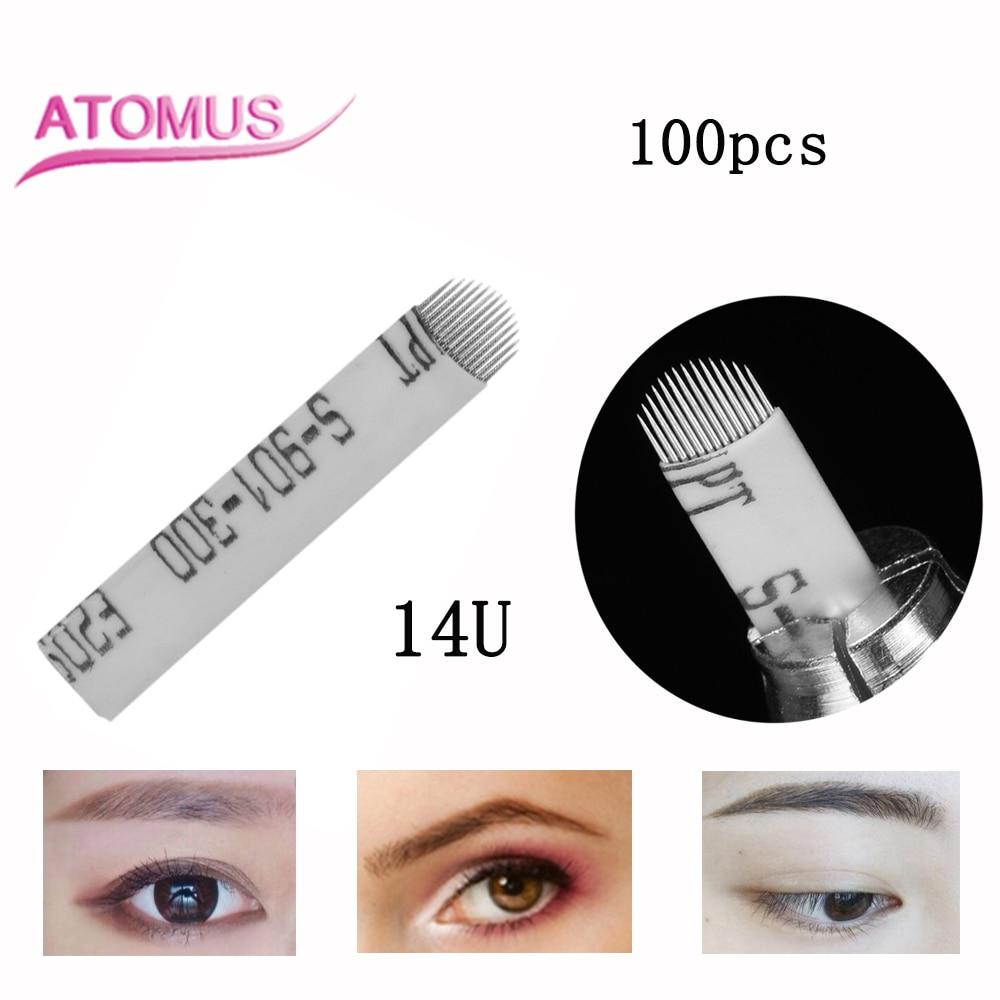 100pcs Laminas Tebori Microblading 14 U Shape Tattoo Needles Agulha Maquiagem Definitiva Agulha 14 Flex Needle Blade Manual