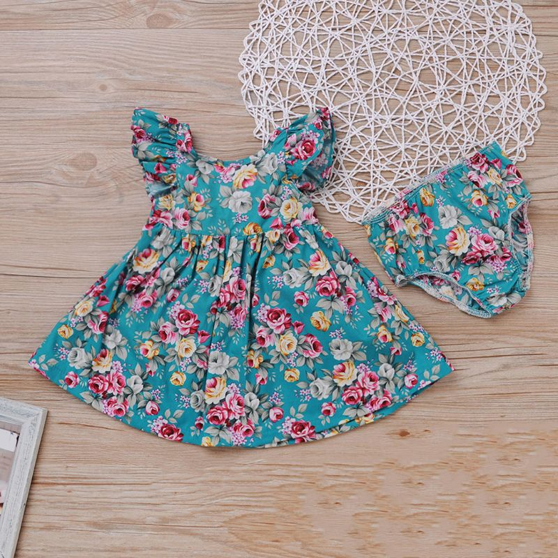 2019 Princess Toddler Kids Baby Girl Floral Dress Summer Ruffles Sleeve Back Cross Tutu Boho Beach Dresses Sundress Clothes(China)