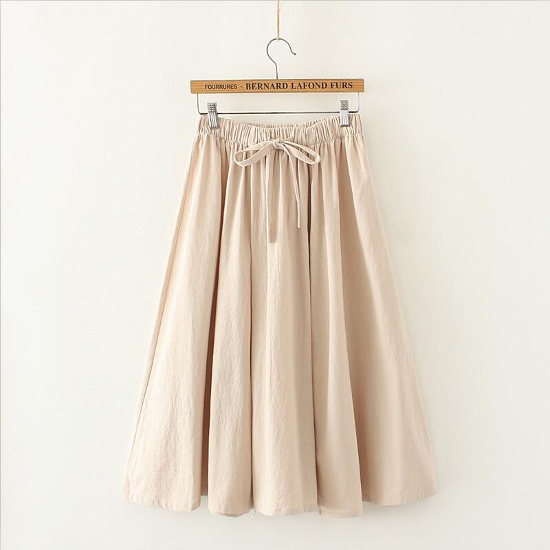 Japan Style 2019 Women Summer Solid A-Line Cotton And Linen Skirt 6 Color Empire Sashes Bow Skirt Vestido Plus Size Skirt M-7XL thumbnail