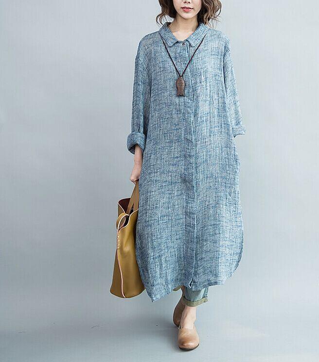 a7c0447d6ed3 Free shipping Blue Pink Loose Linen Shirt Maxi Dress