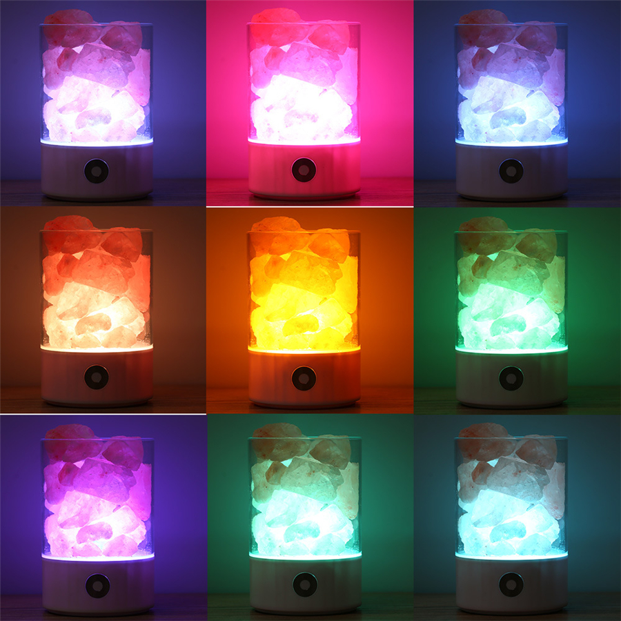 LED Rechargeable Night Light Himalayan Crystal Salt Lamp Air Purifier
