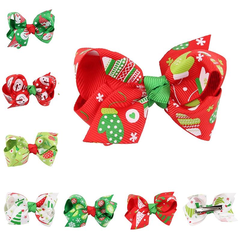 arcos de la cinta del pelo regalo de navidad rojo verde hecho a mano boutique chicas