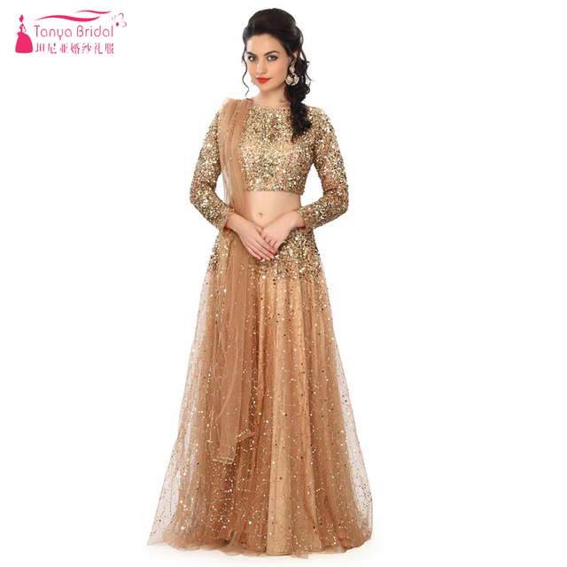 Gold Sequin And Tulle Prom Dresses Two Pieces Gorgeous Shinny Indian sari  Elegant Evening Dresses Important c0318e789728