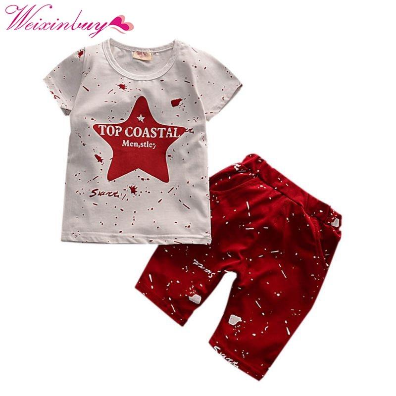 2 шт. Для мальчиков ясельного возраста дети звезда печати короткий рукав Футболка + твердые хлопок точка Брюки для девочек комплект одежды