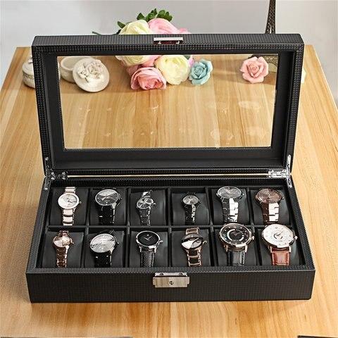 Preto de Alta Caixa de Relógio de Armazenamento Janela de Vidro Qualidade Slots Luxo Jóias Exibição Titular Grande Superior Organizador 12 Mod. 129503