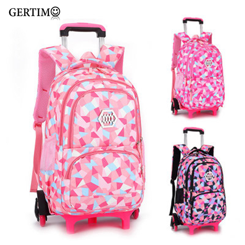 Travel Backpack For Children Girls Trolley Schoolbag Primary Child Orthopedic School Bagpacks With Wheels;sac A Dos Enfant Fille