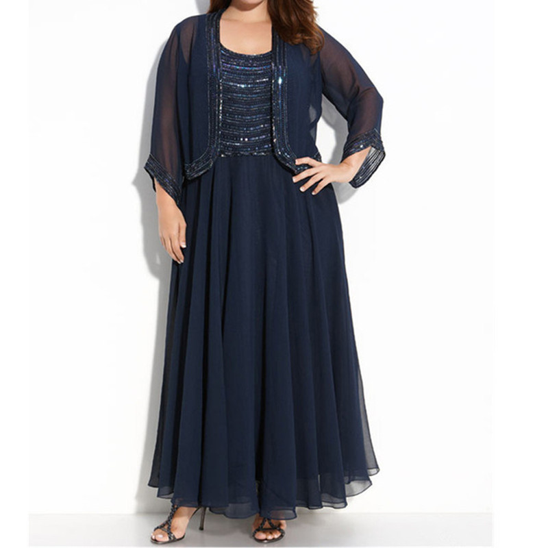 Navy Blue Plus Size Women Evening Dress With Sleeved