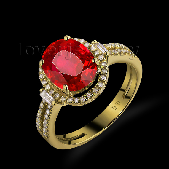 Hot Oval 8x10mm 14Kt Yellow Gold Diamond Ring Ruby Engagement Ruby Ring For Sale G090795