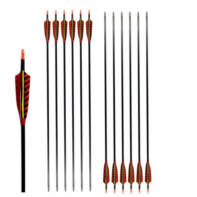 6 Pack Archery Arrows Hunting Carbon Arrow Spine 400/500/600 With Turkey Feather 28/29/30 Inch For Compound Recurve Bow Longbow