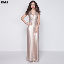 fd767446c68 2018 Europe Women Fashion Sexy Deep V-neck Short Sleeved Sequins Bling Banquets  Nobility Elegance Dinner Party Lady Long Dress
