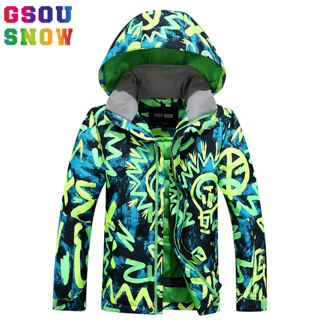 f4d1d8d6c6 GSOU SNOW Winter Boys Ski Jackets Outdoor Waterproof Windproof Kids Snowboard  Jacket Winter Warmth Colorful Snow