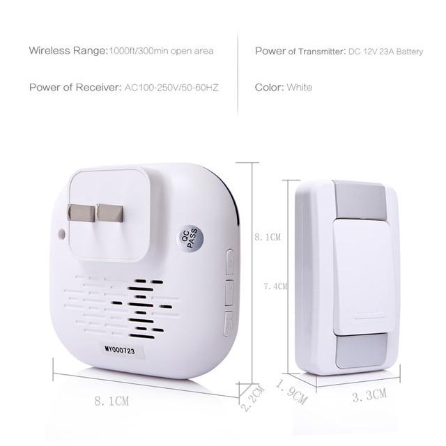 DAYTECH Wireless DoorBell Ring Waterproof IP44 36 Chimes ring Home Security Door Bell Kit 2 Plugin Receivers 1 Push Button