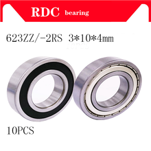 10Pcs 623ZZ 623-2RS 623 R-1030ZZ Bearing 623-ZZ 3*10*4 3x10x4mm Miniature Deep Groove Ball Bearing Steel(China)