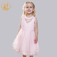 Summer Clothes Girls Dress Party Wedding Dresses Paillette Belt Pearls Necklace Knee-Length Beading Bow Girls Dress