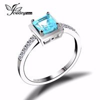 Sky Blue Topaz Engagement Wedding Ring Solid 925 Sterling Solid Silver Square Cut Amazing