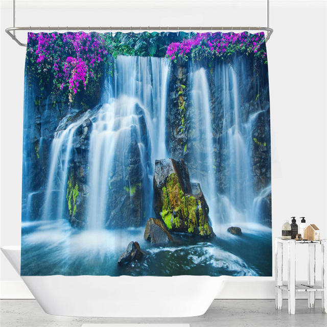 Beautiful Waterfall Flower Picture Print Shower Curtain Polyester ...