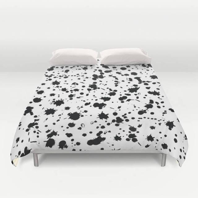 Duvet Cover Paint Splatter Creative White Home Textiles Custom Made Letter Comforter On The Bed
