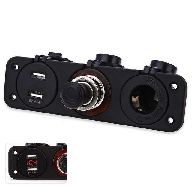 Red Indicator C912 – Z Double USB Adapter with Power Socket Plastic Cigarette Lighter Design Water Resistant And Anti-dust