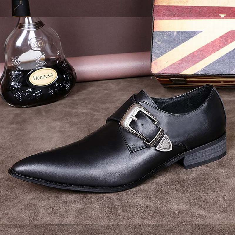Top Luxury Men Business Leather Shoes Pointed-toe Buckle Classic Black Genuine Leather Dress Flats Party Wedding Slip-on Loafers