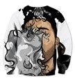 Real USA Size The Weeknd Vape Smoke 3D Sublimation print Crewneck Sweatshirts  fleece streetwear plus size