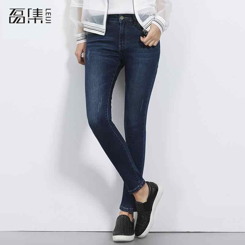 Pantalones vaqueros de cintura media ajustados elásticos Causal de talla grande de longitud completa lápiz Demin pantalones 6xl