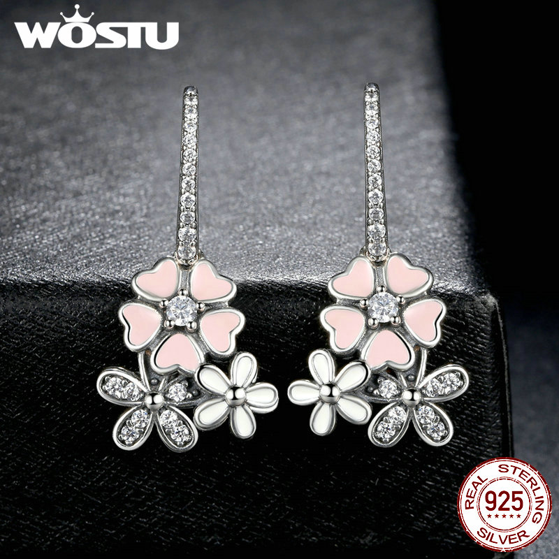 High Quality 925 Sterling Silver Poetic Daisy Cherry Blossom Drop Earrings For Women Luxury Original Fine Jewelry Gift CQE016 4