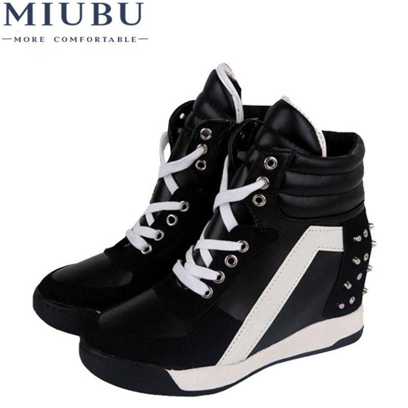 MIUBU Hot Sales Autumn Rivets Black White Hidden Wedge Heels Casual Shoes Womens Elevator High-heels Boots For Women 7D03