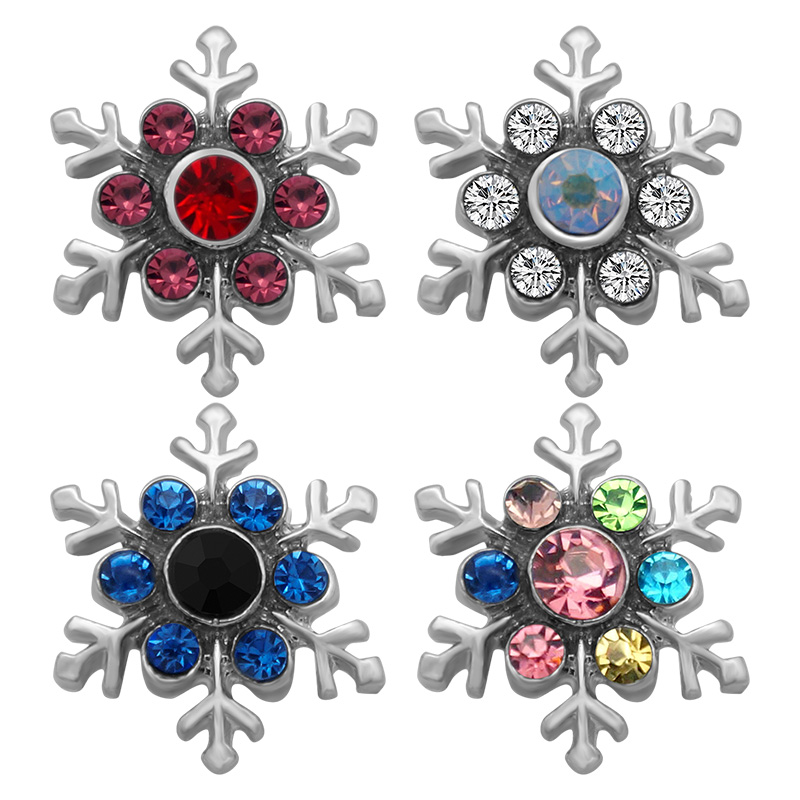 все цены на New Beauty Winter Snowflake Crystal rhinestone 4 colors 18MM snap buttons colorful fit DIY snap jewelry PL0132 Christmas онлайн