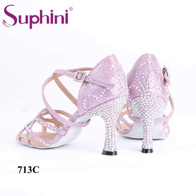 Suphini handmade high quality diamond pink glitter crystal sexy 7 5cm heel latin dance shoes in Dance shoes from Sports Entertainment