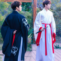Ancient Chinese Costume Men Performance Outfit For Dynasty Men White Hanfu Costume Satin Robe Chinese Traditional Dress DN2112
