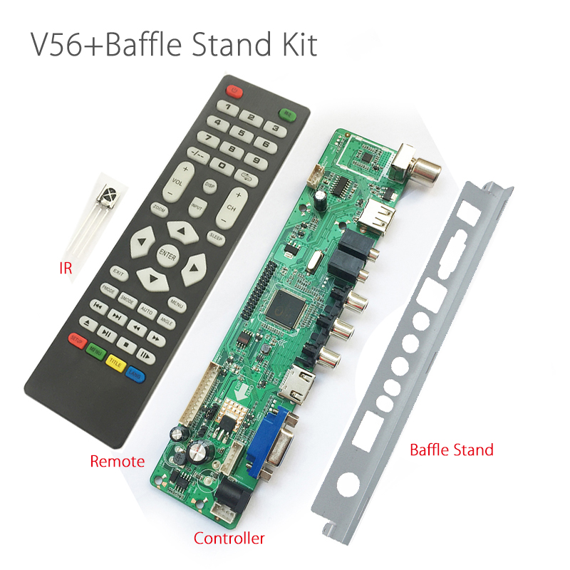 Support 7-55 inch Panel V56 Universal LCD Controller Driver Board + V56 Baffle Iron Stand Free Shipping