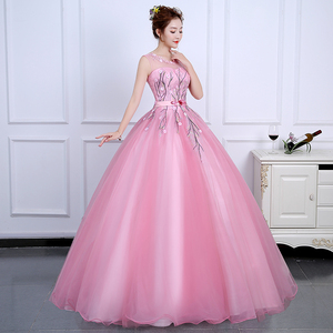 Image 5 - 2020 Sweet and Fresh Evening Dress Backless Sleeveless Ball Gown Romantic Flowers Fashion Elegant Performance Party Design