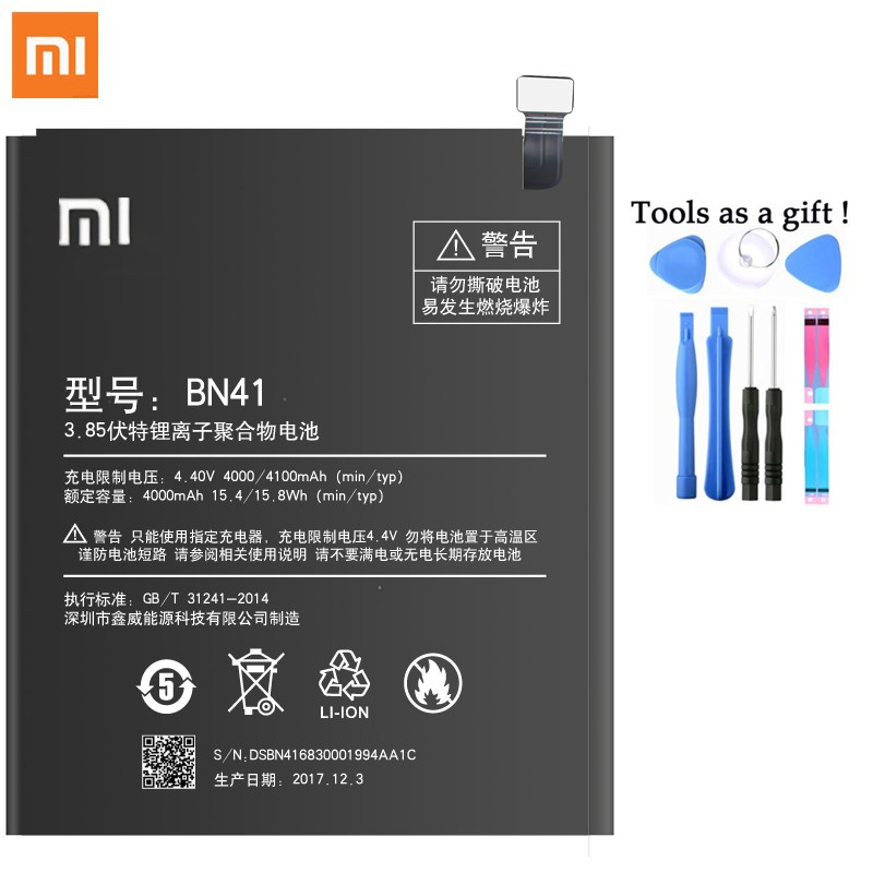 Original BN41 Battery Xiaomi Redmi Note 4 Note4 Hongmi Note 4X 4GB RAM 4100mAh Replacement Mobile Phone Batteries Free Tools