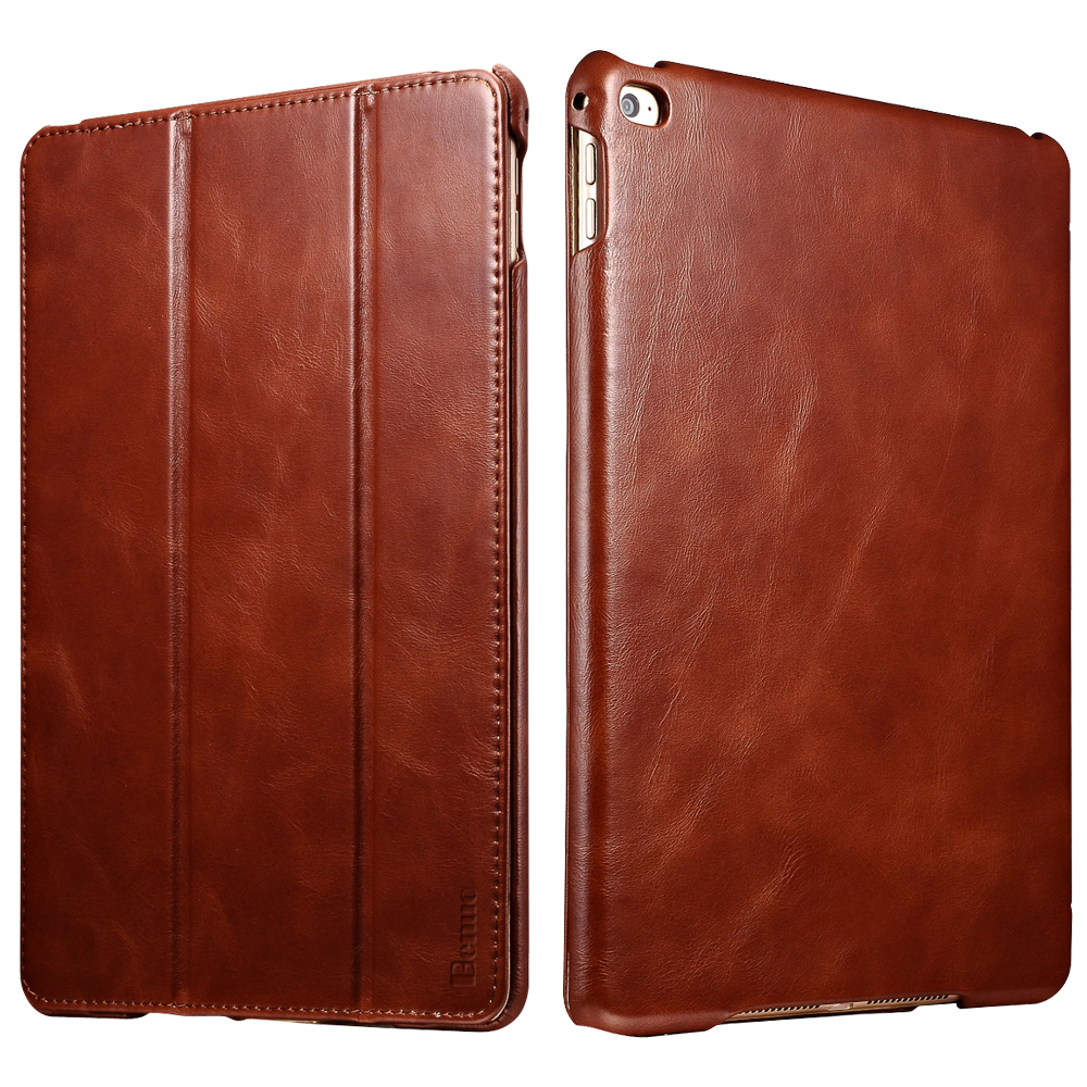 Benuo For iPad Mini 4 Case Genuine Leather Folio Flip Stand Feature Magnetic Closure Auto Sleep Smart Cover Case Brown &Wine Red