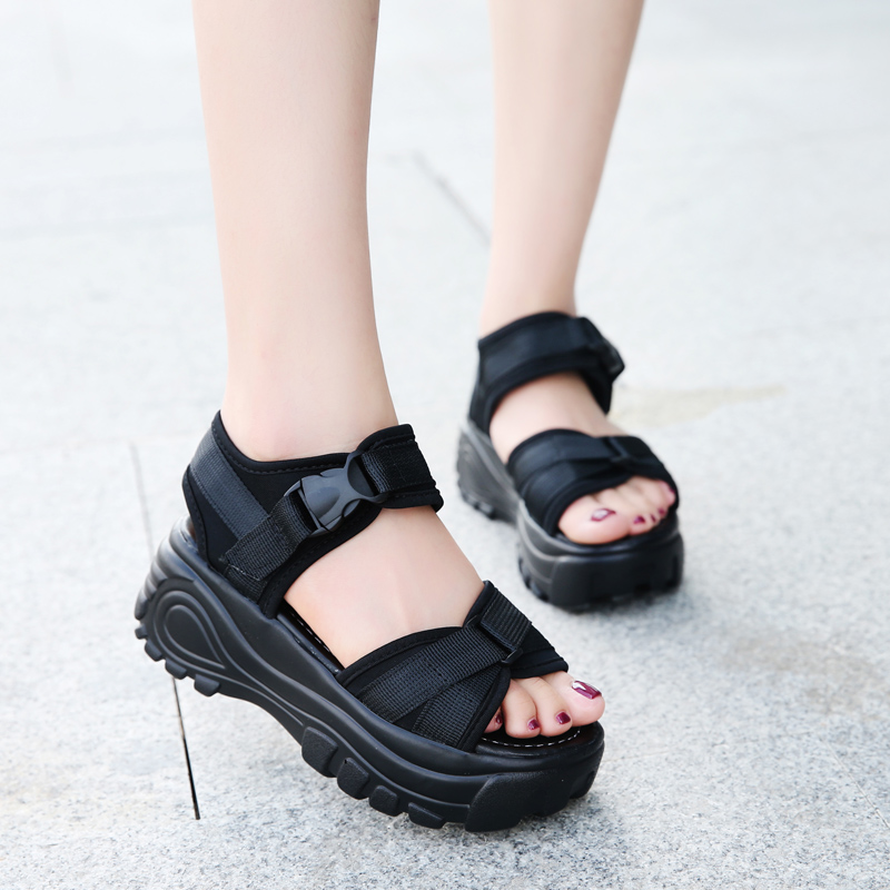 2018 Women Sandals Open Toe Slippers Slides Summer Sneakers Platform Wedges 6cm High Heels 6cm Women Shoes Creepers Sandalia Muj women creepers shoes 2015 summer breathable white gauze hollow platform shoes women fashion sandals x525 50