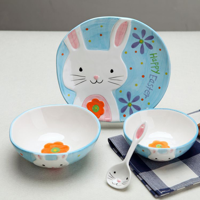 Popular creative cartoon ceramics bowl dish tableware fruit kids dinnerware sets 4 pieces & Popular creative cartoon ceramics bowl dish tableware fruit kids ...