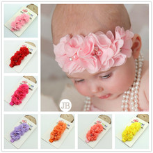 Floral chiffon flower baby girl Infant hair accessories cloth band newborn Headwear tiara headwrap Gift Toddler ribbon headband