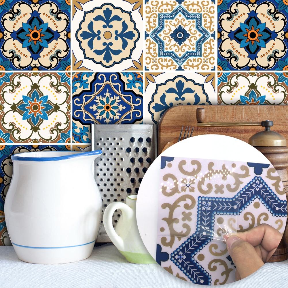 Funlife Moroccan Tiles PVC Waterproof Self adhesive Wallpaper Furniture Bathroom DIY Arab Tile Sticker 15*15cm/20*20cm TS029