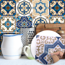 Funlife Moroccan Tiles PVC Waterproof Self adhesive Wallpaper Furniture Bathroom DIY Arab Tile Sticker 15*15cm/20*20cm TS029