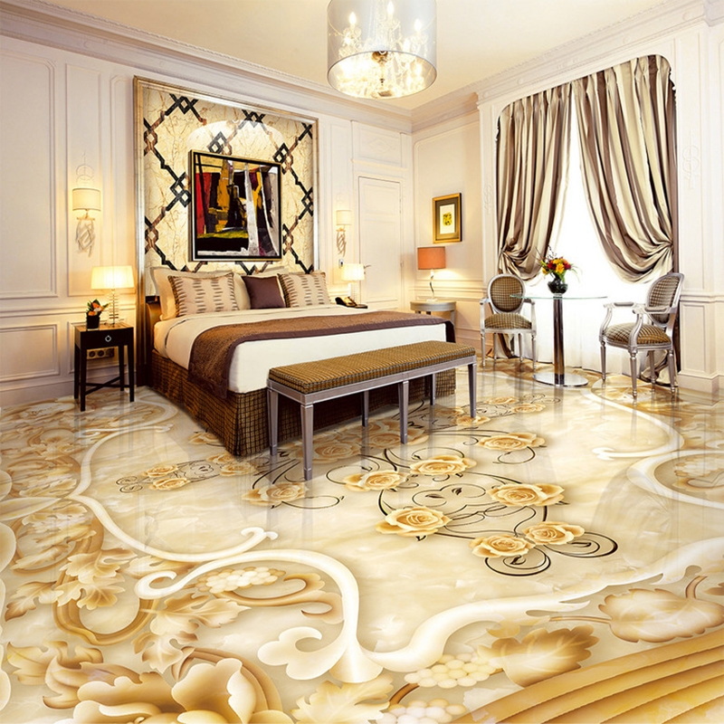 Custom 3D Floor Wallpaper Marble Flower Pattern Relief 3D Floor PVC Mural Sticker Living Room Bedroom Self-adhesive Wall Paper  custom 3d floor painting wallpaper stone steps sunshine pvc self adhesive living room bedroom bathroom floor sticker wall mural