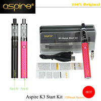 Black And Pink Colors Available Fashion Vapping Electronic Cigarette Aspire Brand K3 Quick Start Kit With