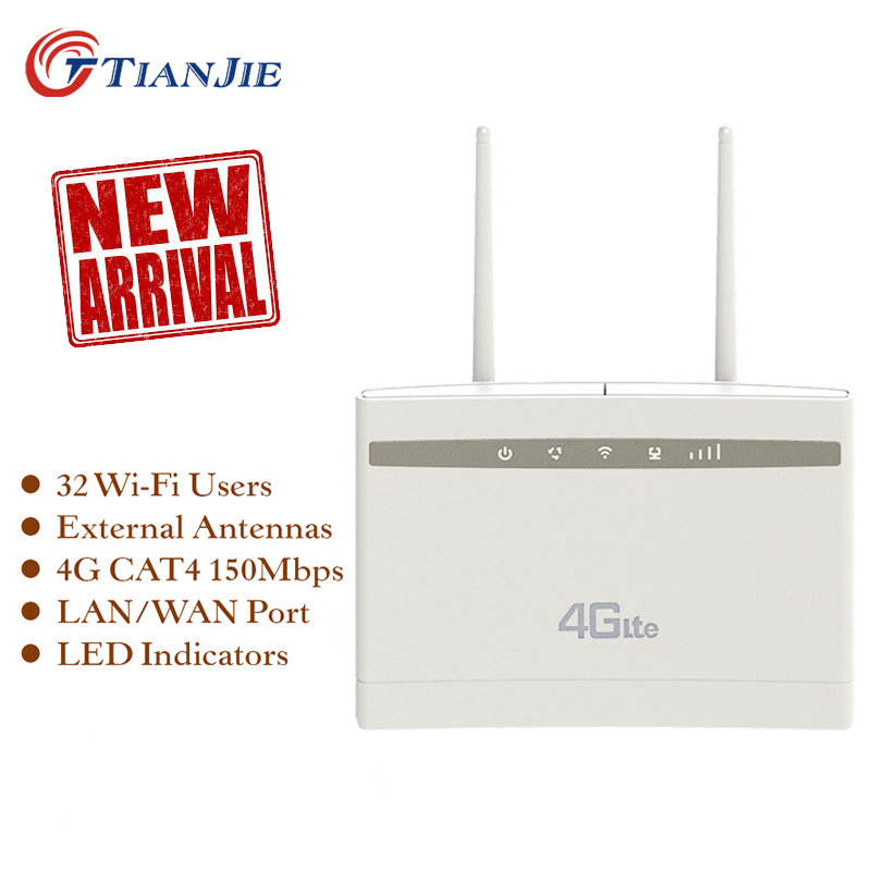 TIANJIE Unlocked 4G Router 300Mbps Wifi Router 4G LTE CPE Wifi Router With LAN Port Support SIM Card Slot Wireless WiFi Router