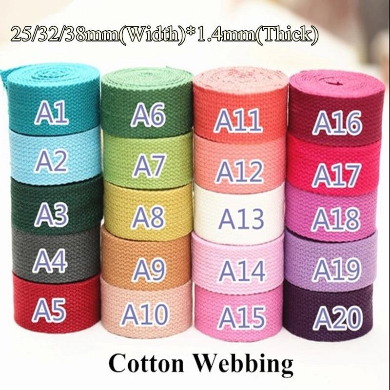 40 colors 25 32 38 50mm Medium Heavy weight cotton webbing 1 1 25 1 5