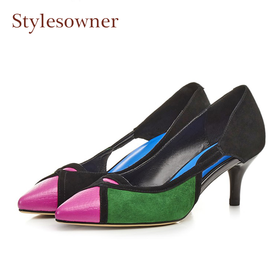Stylewowner pointed toe high heel real leather women pumps fashion mixed color 6cm stilettos heels multi hollow lady work shoes