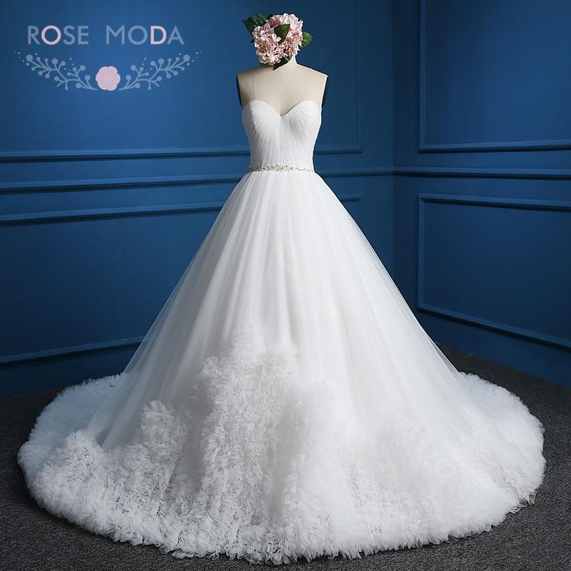 Rose Moda Awan Perkahwinan Pakaian Putih Gading Pink Red Awan Ball Gaun V Kembali Pakaian Perkahwinan dengan Kristal