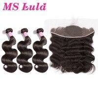 Ms lula волосы бразильский объемная волна 3 Связки с закрытием кружева фронтальной 13x4 100% человеческих Волосы remy швейцарский кружево волос расш