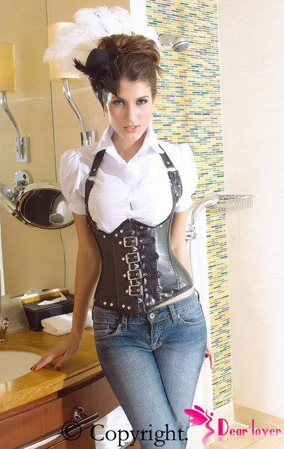 Provocante olhar e sentir white Black red Faux Leather Under Bust Espartilho Gótico alta qualidade Novo 2017 cintura corset mulheres