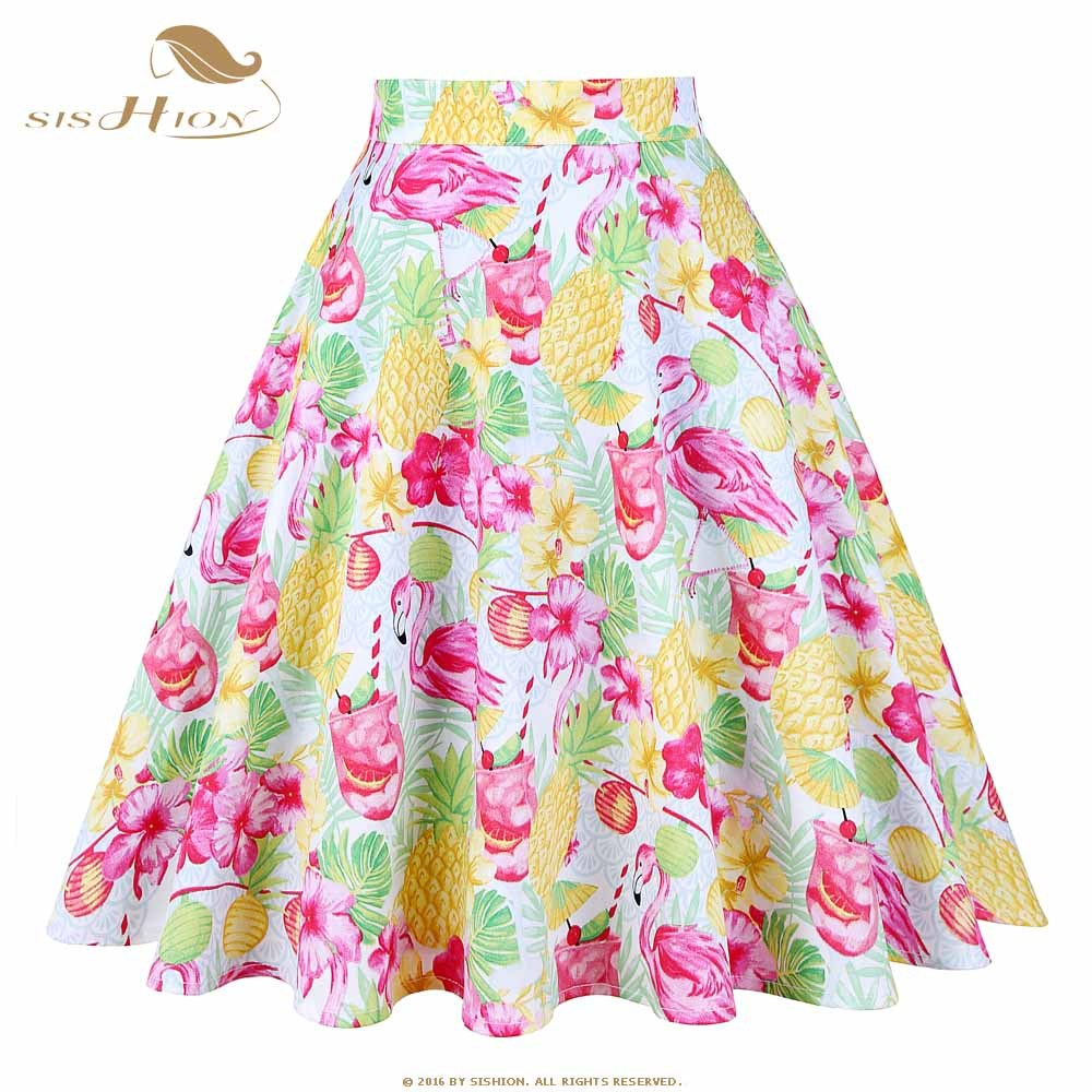 Detail Feedback Questions about 50s 60s Swing Skirt Flower Pineapple ... d1ee89c5dd45